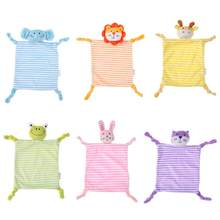 Cute Baby Plush Stuffed Doll Soft Cartoon Animals Newborn Plush Handkerchief Infant Appease Toy Infant Bibs Hand Towel(China)