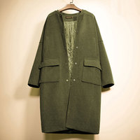 Large Size Ladies Korean Army Green Woolen Coat 2018 Winter Thickening Pockets Lady Slim Long Sleeve Blends Single Breasted Coat