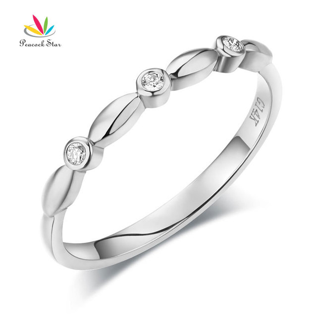 White Gold Wedding Rings | Pfau Stern 14 Karat Solide White Gold Wedding Band Ring Stackable 0