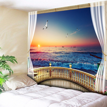 Warm Sunshine Psychedelic Tapestry Ombre Purple Sea Wave Wall Hanging Carpet Chic Mountain Range Flower Bohemian Blanket 200x150