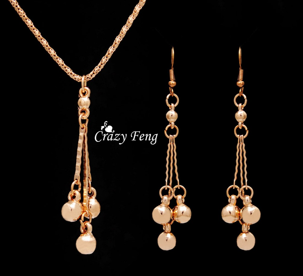 Trendy Jewelry Sets Necklace Earrings For Women With Dangle Pendants Gold  Color Bridal Party Costume Jewelry
