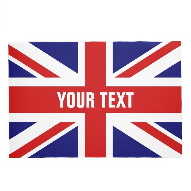 Custom Text Union Jack Flag Welcome Door Mat Personalised