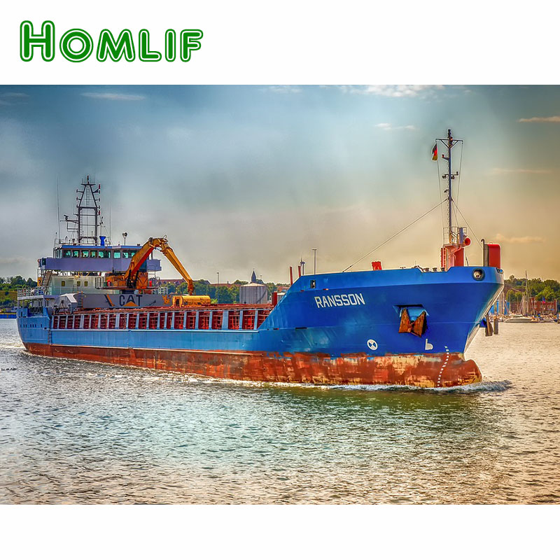 HOMLIF Full Square/Round Drill 5D DIY Diamond Painting Ships pier Shipping 3D Embroidery Cross Stitch Mosaic Home Decor Gift