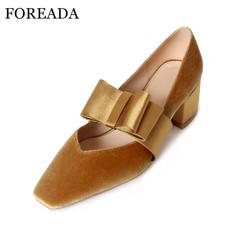FOREADA 2018 Velvet Shoes Women Luxury Brand Shoes Yellow Thick High Heels Pumps Bow Party Shoes Ladies Spring Slip On Pumps luxury brand crystal patent leather sandals women high heels thick heel women shoes with heels wedding shoes ladies silver pumps