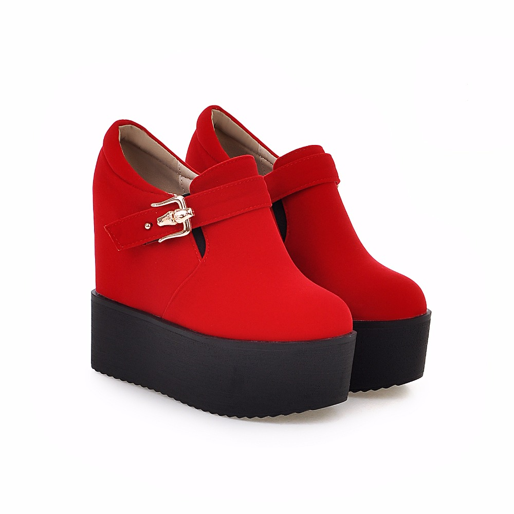 ФОТО fashion Woman Shoes Simple metal buckle strap Comfortable wedges Platform Thick Heel Trifle Height Increasing Shoes