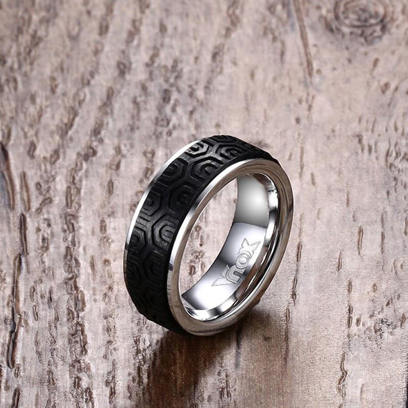 Anillo de moda para hombre, fibra de carbono y joyería de acero inoxidable para hombre en anillo de bodas de color plateado anillos bague homme