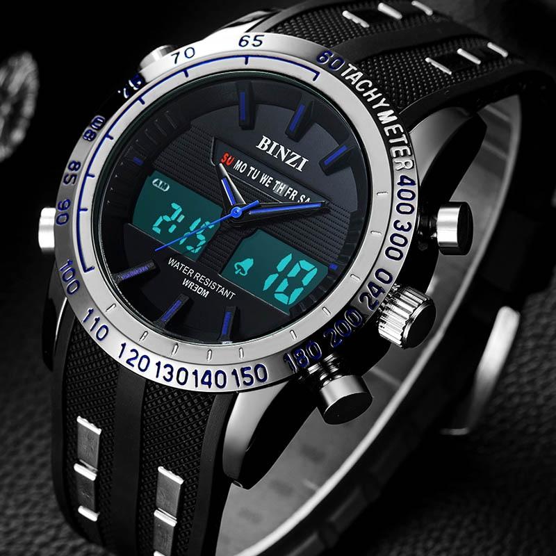 Mens Watches BINZI Brand Men Watch Digital Quartz Sport Racer Male Clock 2018 Luxury Relogio Masculino xfcs Cool Wrist New