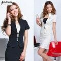 2015 Nueva moda de Corea del verano de las mujeres trajes de falda de carrera OL Chaquetas de la capa blazer y falda oficina negro Albaricoque tallas grandes conjuntos