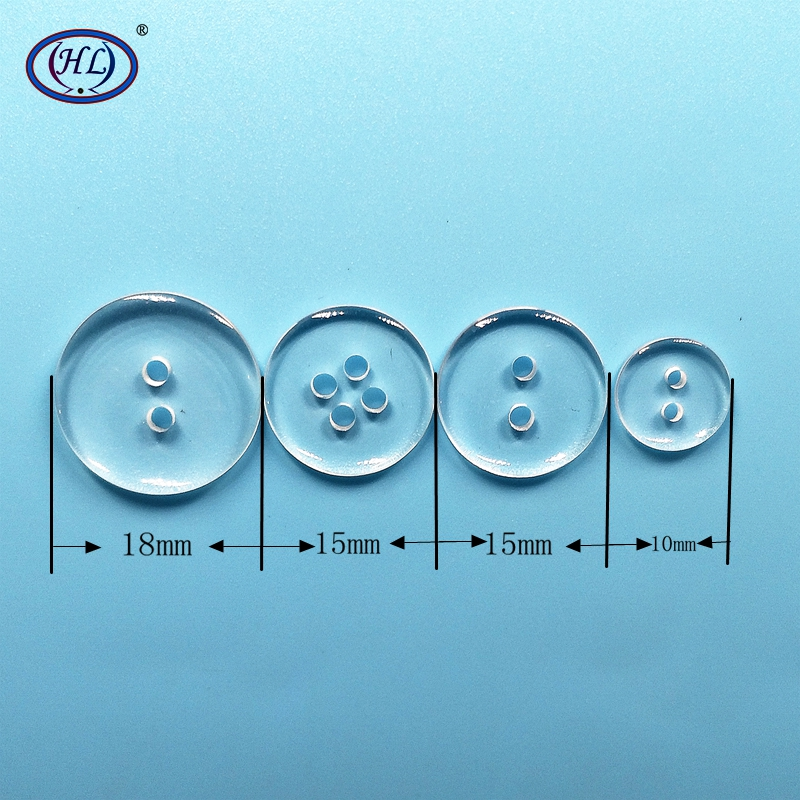 HL 10mm 15mm 18mm Round Shape 2 holes 4  Transparent Resin Buttons Kid