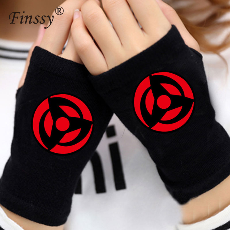 Naruto Gloves for Men Women Sharingan Uchiha Akatsuki Logo Gloves Mitten Lovers Anime Accessories Cosplay Fingerless