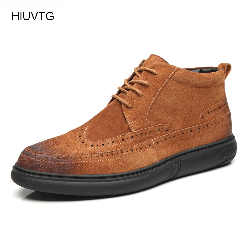 Top Quality Genuine Leather Men Flat Shoes Motorcycle