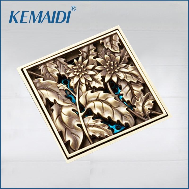 KEMAIDI 10x10cm Brass Antique Brushed Floor Drain Bathroom Kitchen Shower Roon Porch Square Floor Waste Drain Grate Sanitary