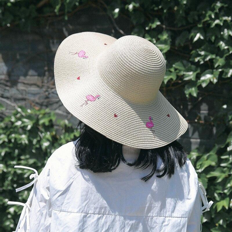 1 Pc Frauen Mode Sommer Sonne Hüte Süße Vintage Cartoon Embrodery Flamingo Sun-proof Strand Breiter Krempe Stroh Caps 2019 Trendy Das Ganze System StäRken Und StäRken