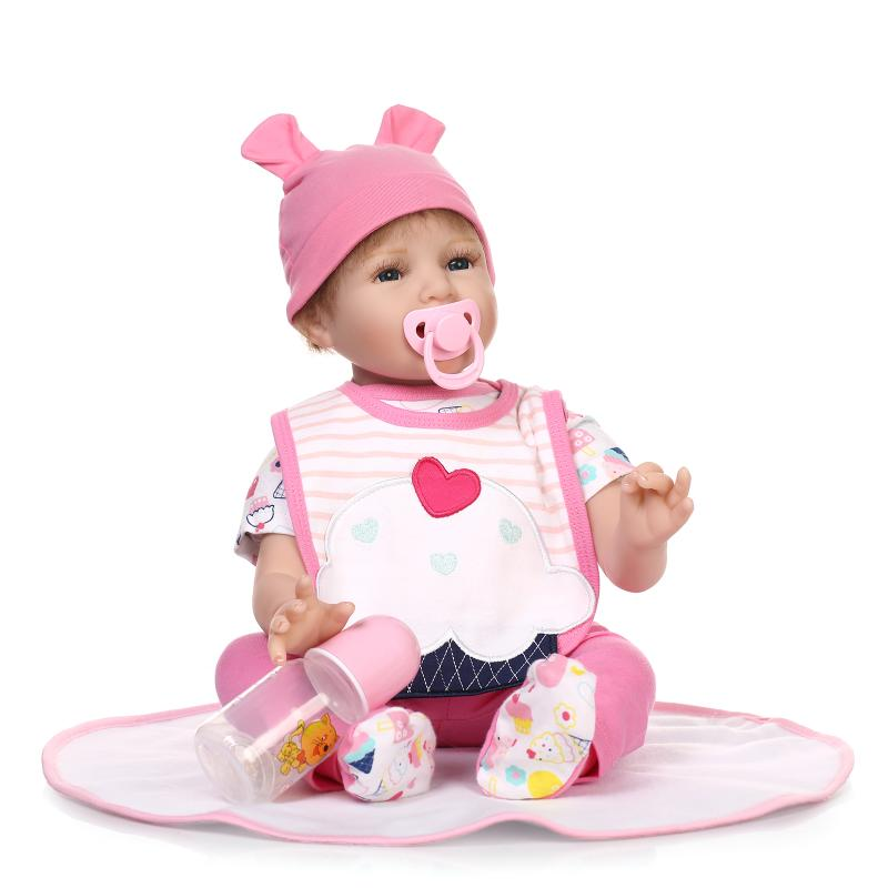 55cm Soft Silicone Reborn Baby Doll Blue Eyes Doll Toy For Girls Lifelike 22 Newborn Baby Girls Doll in Pink Cake Clothes Gifts new arrival 55cm blue eyes pink clothes lifelike baby soft girl doll with free plush toy as kids xmas gifts birthday doll toys