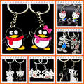 Novelty Anime Couple Key Chain Men Silver Tone RIng Lovers Keychain Women Jewelry Souvenir Wedding Female Valentines Day Gift