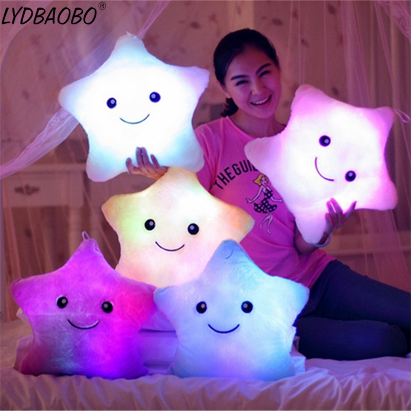Colorful Star Shape Toys Star Glowing LED Luminous Light Pillow Soft Relax Gift Smile Body Pillow Valentines Kids Christmas Gift best girl toys 2017
