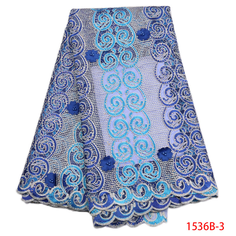 Guipure Lace Fabric Blue 2018 High Quality For Womem Party With Stones Clothes Dress African Nigerian GD1536B-3