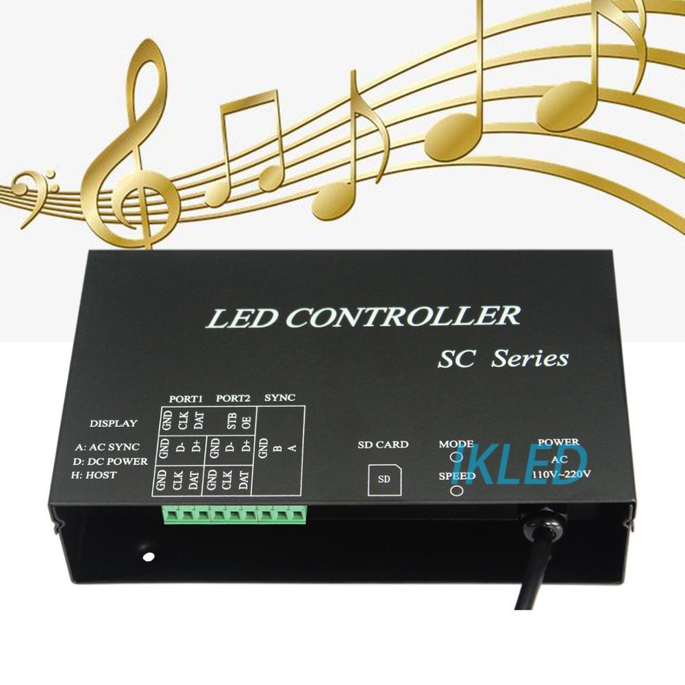 Contrôleur de musique led, lecteur de 2 ports 4096 pixels, mode de synchronisation de soutien, DMX512, WS2812, UCS1903, contrôleur de musique SM16703, logiciel PC
