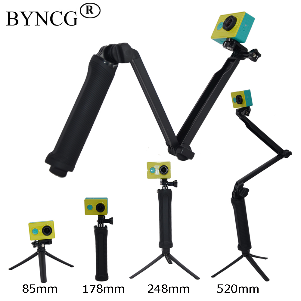 BYNCG for Gopro Accessories Tripod 3 Way Monopod Mount Extension Arm Tripod for Gopro Hero 6 5 4 3+ for wifi xiaomi yi SJ4000