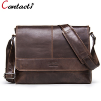CONTACT S 2018 Business Men Bag Brand Genuine Leather Male Shoulder Bags Luxury Cow Leather Handbag