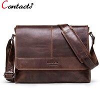 CONTACT'S 2018 Business Men Bag Brand Genuine Leather Male Shoulder Bags Luxury Cow Leather Handbag Men Crossbody Bag briefcase