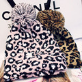 Winter Hat Floral Casual 2017 New Adult Hot Sale Leopard Big Ball Head Pointed Beanie Women Knitted Hats Skullies And Beanies