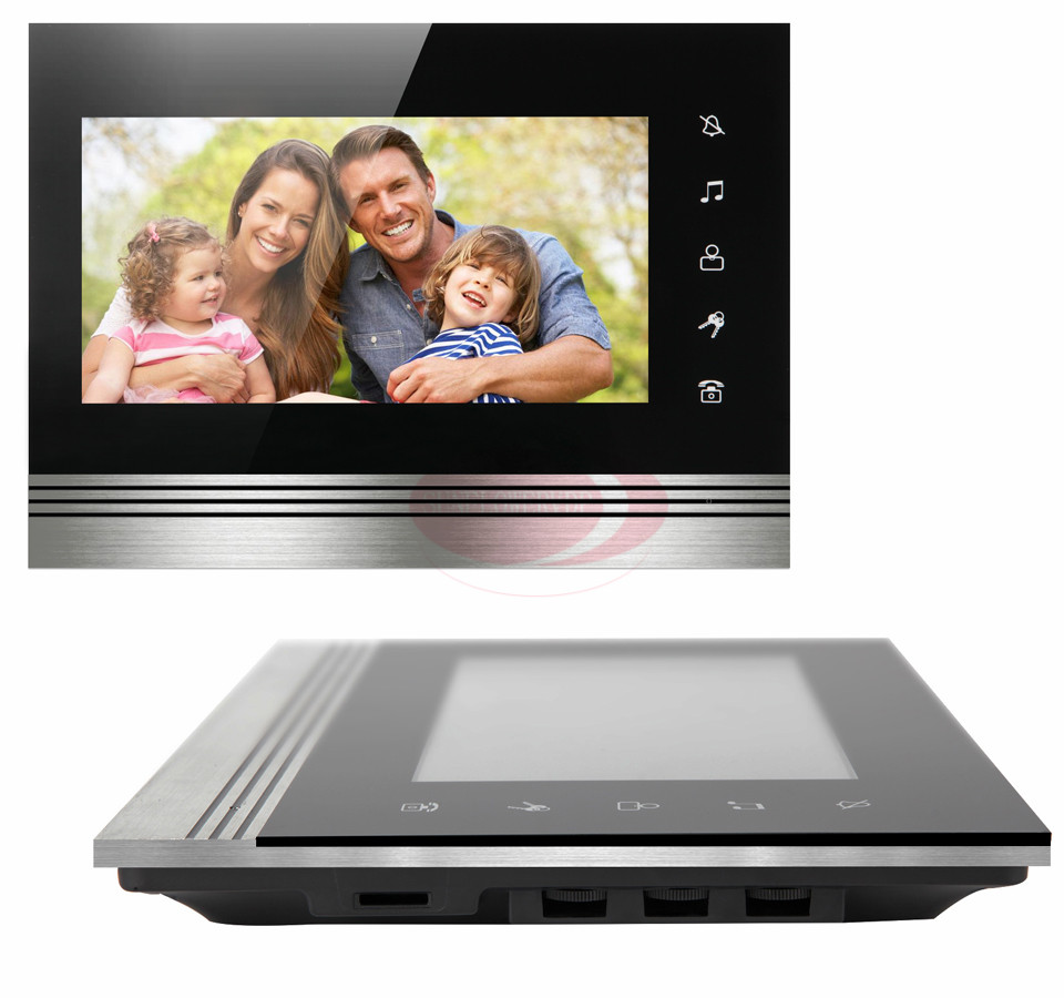 Wired Video Door Phone New 7inch Color TFT LCD Monitor Screen Video DoorPhone Touch Button Outside Panel Of Video Intercom Black