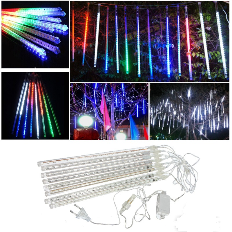 Jiguoor 8pcs/set LED Strip Light Waterproof Snowfall Meteor Holiday Outdoor Garden Patry Street Christmas Garland Light 100-240V