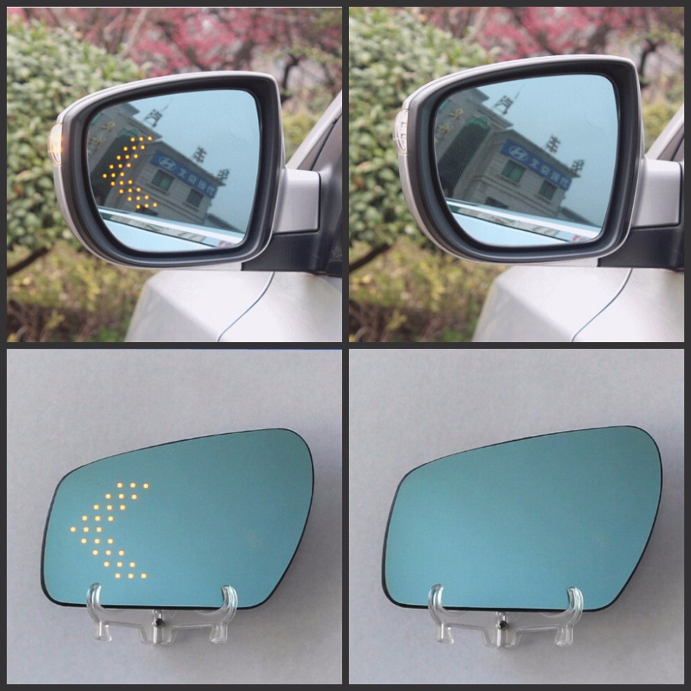 Auto LED Light Wide Angle Blue Dazzling Led Rearview Mirror Safety Car Side Mirror Modified Exterior Mirrors For Classic Ford wingle 5 european version dedicated rearview mirror assembly for great wall pickup truck exterior mirrors