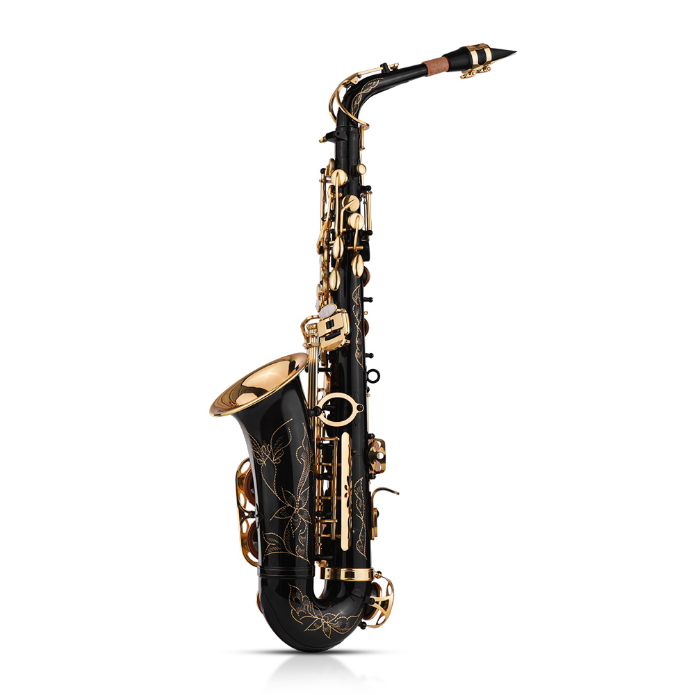 Alto Saxophone Gold Lacquered Ligature and Black Cap
