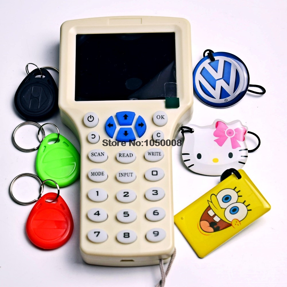 English Rfid NFC Copier Reader Writer Cloner Copy 10 Frequency Programmer 6pcs 125khz EM4305 Rewritable Keyfobs