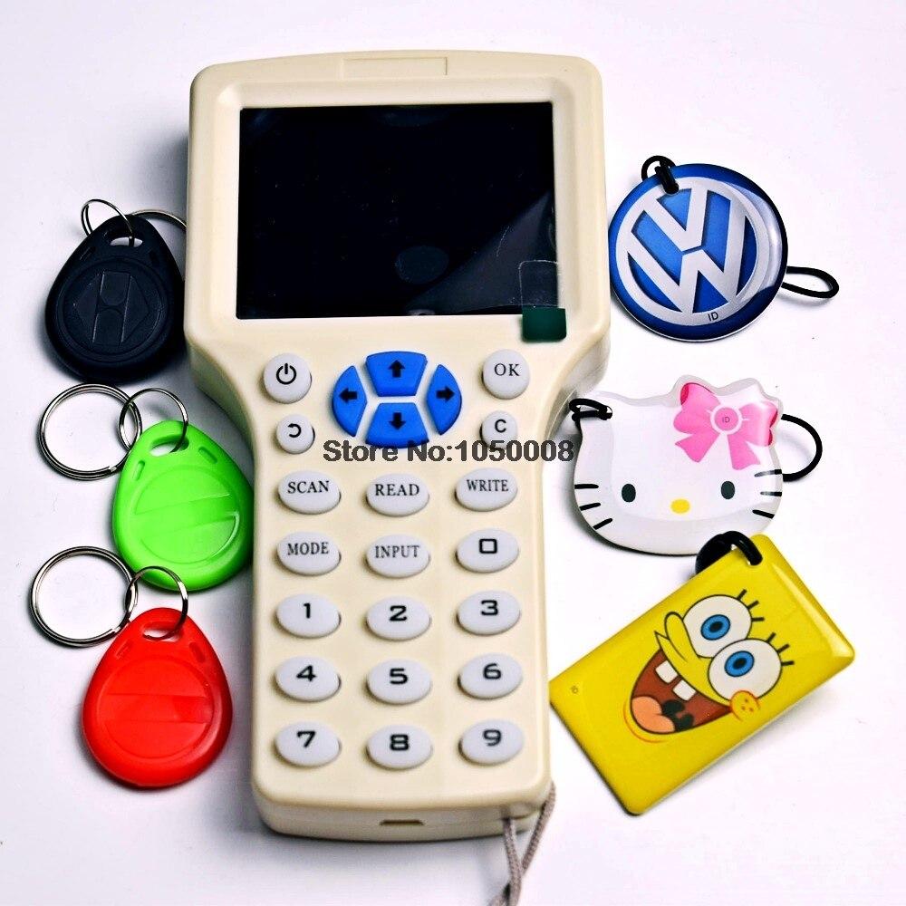 Inglese NFC Rfid Copier Reader Writer Cloner Copia 10 Frequenza Programmatore + 6 pz 125 khz Em4305 Riscrivibili portachiaviInglese NFC Rfid Copier Reader Writer Cloner Copia 10 Frequenza Programmatore + 6 pz 125 khz Em4305 Riscrivibili portachiavi