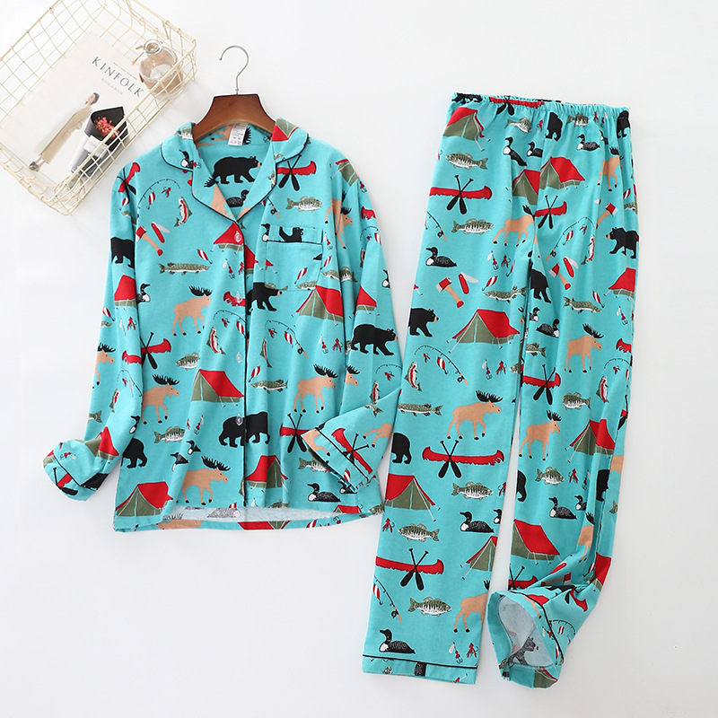 Cute Animal Cartoon Pyjamas Women 100% Brushed Cotton   Pajamas     Sets   Female Girls Sleepwear 2 Pcs Home Suit Pyjama Femme