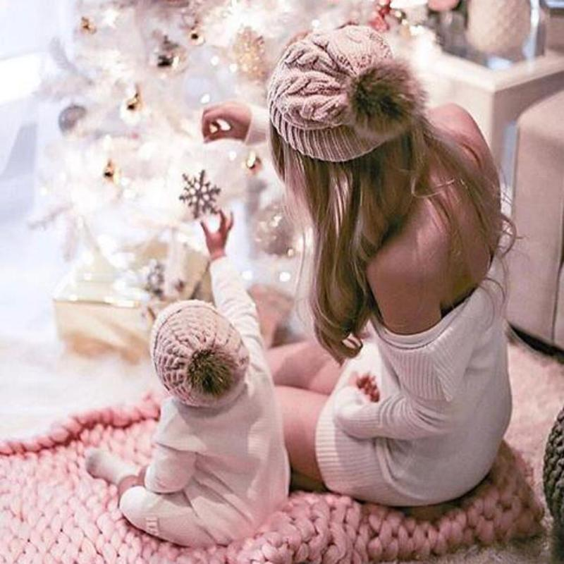 Family Matching Beanie Hairball Kids Cap Outfits Fashion Parent-child Caps Cute Infant Baby Pompon Mom Baby Knitting Warm Hat jkp 2018 children s real rabbit hair hat wool cap baby parent child head cap autumn and winter fashion warm child cap zpc 224