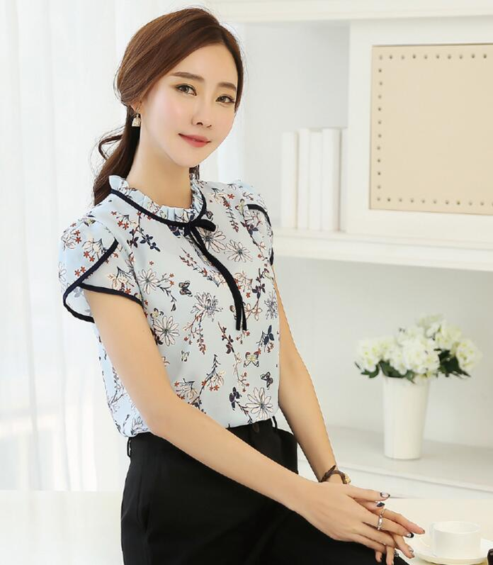 HTB1YsnMQXXXXXafXFXXq6xXFXXXS - Floral Print Chiffon Blouse Collar Short Sleeve Women