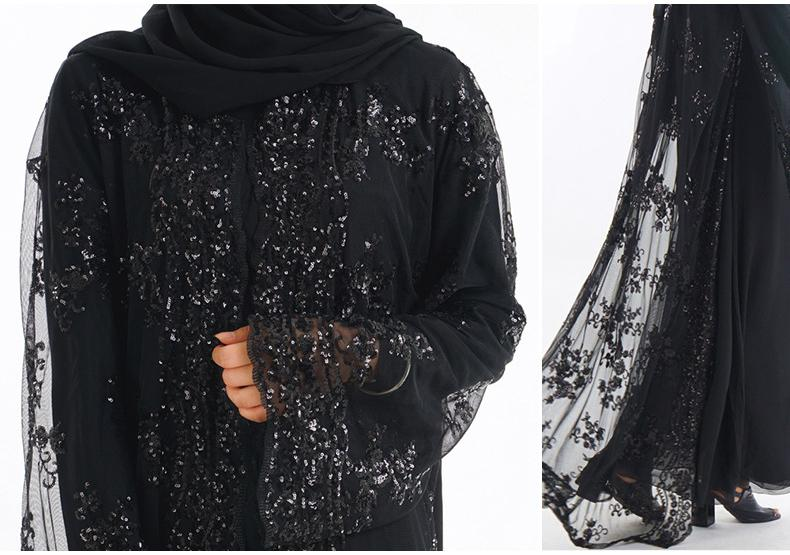 Abaya Muslim Women Cardigan Long Maxi Dress Open Front Robe Kaftan Dubai Jilbab Sequin Lace Embroidery Islamic Kimono Turkey Middle East