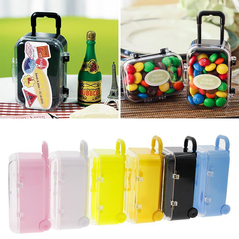New Plastic Mini Travel Suitcase Shape Candy Box Favor Tin Box Sundries Organizer Container Wedding Party Decoration 6Colors