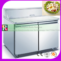 free shipping 420L counter top commecial salad bar table cooler display refrigerator cabinet restaurant equipment with 2 doors
