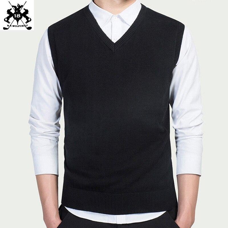 100% Baumwolle Herren ärmellose Pullover Weste Lässig Herren V-ausschnitt Pullover Mode Herren Kleidung Tops Schlank Einfarbig Stricken Weste