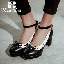 RizaBina Size 34-43 Thick Heels Shoes Women Bowknot Patchwork Buckle Pumps Ankle Strap Platform Stiletto Party Wedding Footwear