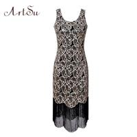 ArtSu Women Sexy Party Dress 1920s Gatsby Sequin Embroidery Midi Spring Vintage Tassel Dresses 2018 Vestido