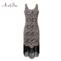 ArtSu Women Sexy Party Dress 1920s Gatsby Sequin Embroidery Midi Spring Vintage Tassel Dresses 2018 Vestido