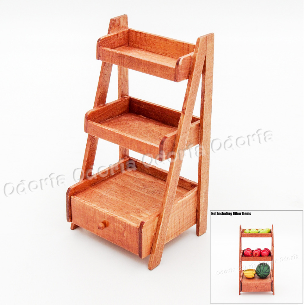 Odoria 1 12 Miniature 3 Tire Wood Ladder Shelf Storage With Drawer Dollhouse Furniture