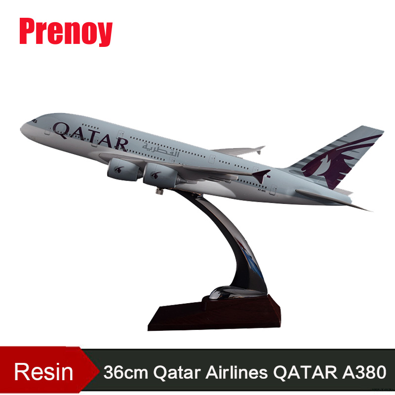 36cm Resin A380 Qatar Airlines Airbus Model QATAR International Aviation Airways Aircraft Model A380 Airplane Plane Model Toy electric air bus model toys moving flashing led light sounds kids toy assembling aircraft children gift a380 airbus music toy