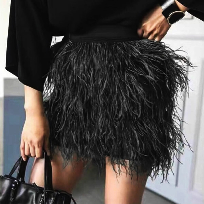 2017 Autumn Winter Women Ostrich Feathers Skirt High Quality Fashion Elastic Waist Tassel Fluffy Short Skirts Black Green Pink