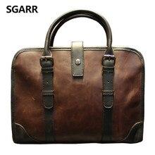 Классическая искусственная кожа Crazy Horse Портфель мужская деловая сумка на молнии высокое качество сумка-мессенджер 14 дюймов для ноутбука офисная сумка