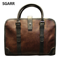 2018 The Classic Crazy Horse PU Leather Briefcase Men's Business Zipper Bags High Quality Messenger 14inch Laptop Office Bag