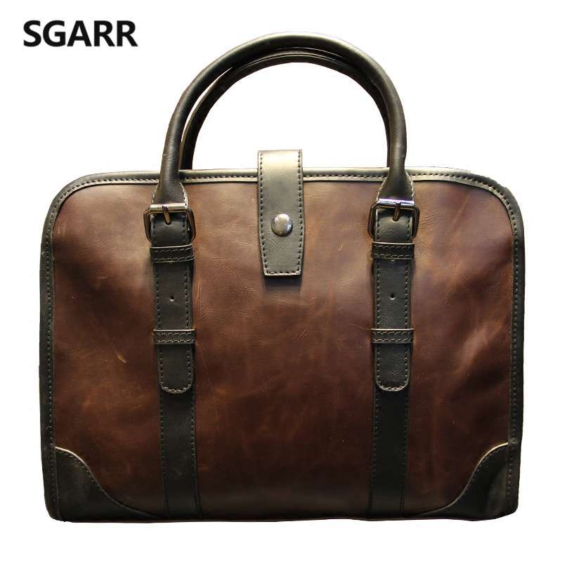 2019 The Classic Crazy Horse PU Leather Briefcase Men's Business Zipper Bags High Quality Messenger 14inch Laptop Office Bag