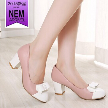 f7519cda48f In summer with thick bow with a single shoe heels spell color wide leg fat  feet large size shoes women 404