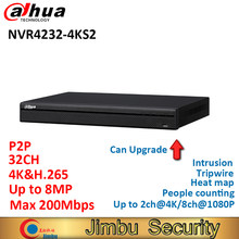 Dahua 4K P2P NVR video recorder NVR4232-4KS2 32CH H.265/H.264 people counting intrusion tripwire heat map Up to 8MP Resolution(China)
